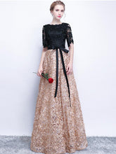 Black Prom Dresses A-line Half Sleeve Long Prom Dress Sexy Evening Dress JKL521