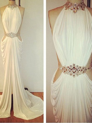 Sexy Prom Dresses Sheath Column High Neck Rhinestone Long White Prom Dress JKL522