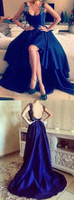High Low Prom Dresses Straps Appliques Backless Sexy Long Prom Dress JKL528