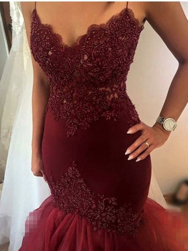 Mermaid Prom Dresses Spaghetti Straps Beading Sexy Long Burgundy Prom Dress JKL531