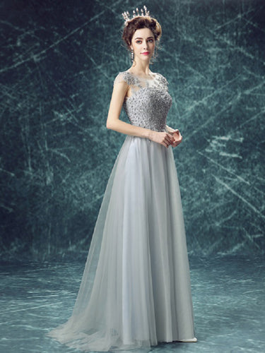 Long Prom Dresses Scoop Floor-length Appliques Beading Tulle Prom Dress JKL533