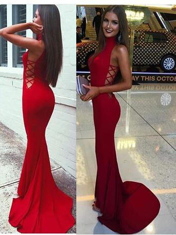Sexy Prom Dresses High Neck Short Train Burgundy Long White Prom