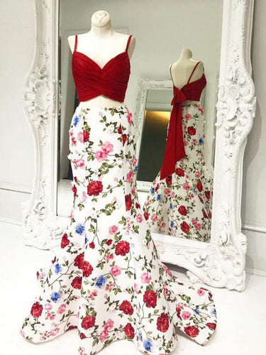 Mermaid Prom Dresses Spaghetti Straps Floral Print Long Prom Dress Sexy Evening Dress JKL543