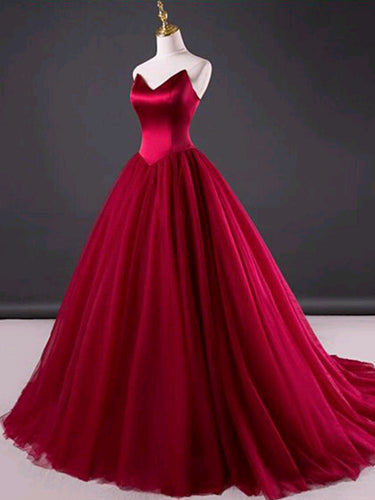 Ball Gown Prom Dresses Sweetheart Lace-up Tulle Sexy Burgundy Prom Dress JKL544