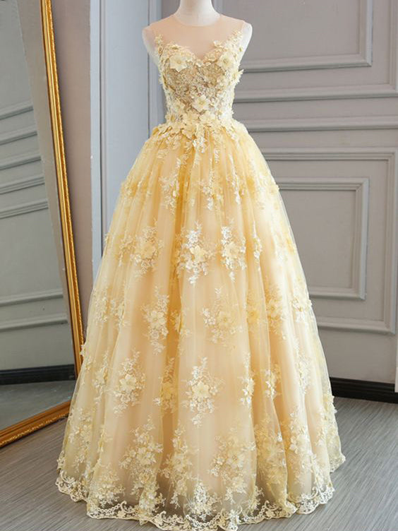 Long Prom Dresses Scoop A-line Floor-length Lace Sexy Yellow Prom Dress JKL545