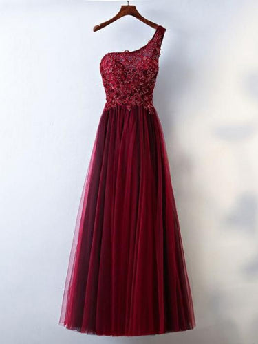 Burgundy Prom Dresses A-line One Shoulder Appliques Lace-up Long Prom Dress JKL546
