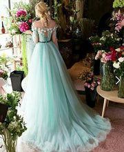 Long Prom Dresses A-line Off-the-shoulder Brush Train Beading Long Sleeve Prom Dress JKL547