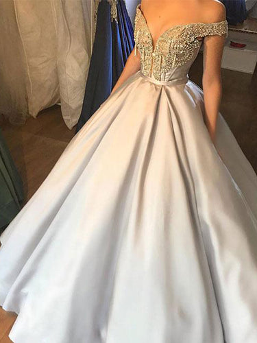 Beautiful Prom Dresses Ball Gown Off-the-shoulder Rhinestone Long Prom Dress Evening Dress JKL548