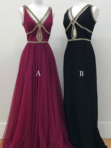 Black Prom Dresses V-neck A-line Floor-length Sexy Burgundy Prom Dress JKL552