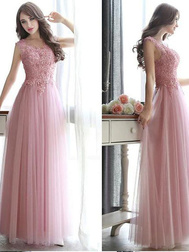 Cute Prom Dresses A-line Scoop Floor-length Beading Lace-up Long Prom Dress JKL554