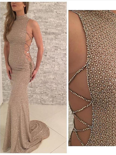 Sexy Prom Dresses High Neck Sheath/Column Rhinestone Long Prom Dress Evening Dress JKL555