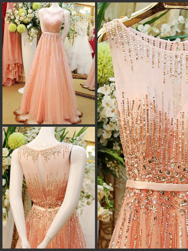 Beautiful Prom Dresses A line Scoop Floor Length Rhinestone Long Prom Dress Evening Dress JKL558