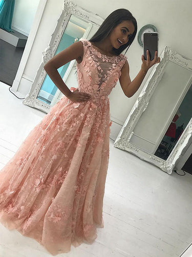 Lace Prom Dresses Scoop A-line Floor Length Appliques Long Prom Dress JKL559