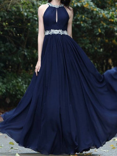 067e847dcc0 Cheap Prom Dresses Halter Floor-length Appliques Dark Navy Chiffon Sexy Prom  Dress JKL561