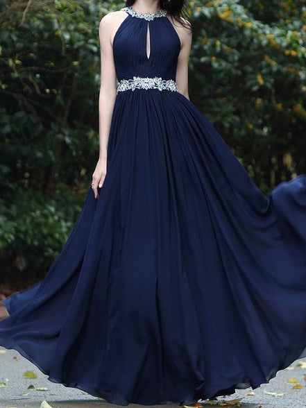 Cheap Prom Dresses Halter Floor-length Appliques Dark Navy Chiffon Sexy Prom Dress JKL561