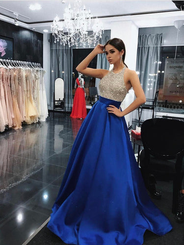 Sparkly Prom Dresses A-line Halter Rhinestone Long Simple Prom Dress Sexy Evening Dress JKL565