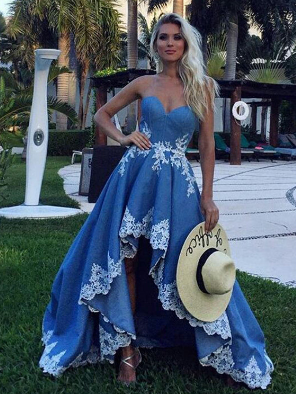 High Low Prom Dresses Sweetheart A-line Appliques Long Cheap Prom Dress JKL566