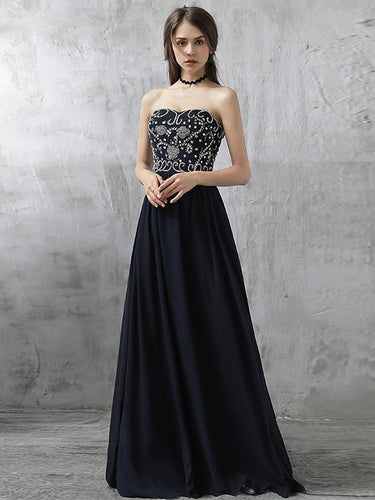 Simple Prom Dresses Sweetheart Floor-length Dark Navy Chiffon Sexy Prom Dress JKL575