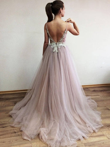Chic Prom Dresses Open Back Spaghetti Straps A-line Rhinestone Sexy Long Prom Dress JKL576