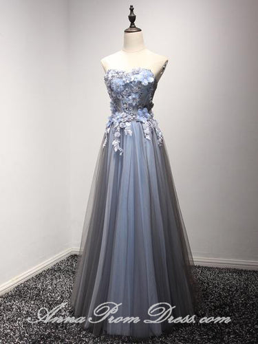 Long Prom Dresses Sweetheart A line Appliques Lace up Tulle Prom Dress JKL578