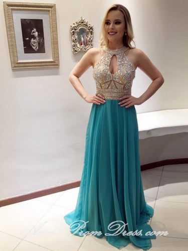 Chic Prom Dresses Halter Short Train Rhinestone Long Prom Dress Sexy Evening Dress JKL579