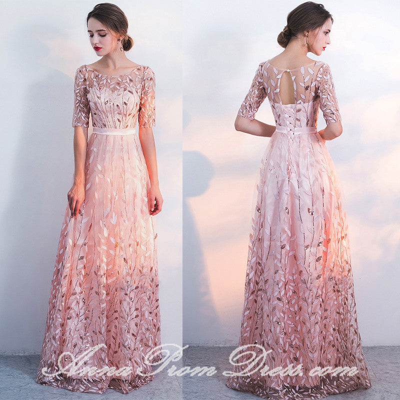 Pink Prom Dresses Scoop Aline Floor-length Lace Tulle Beautiful Prom Dress JKL580|Annapromdress