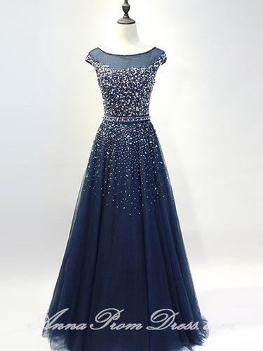 Tulle Prom Dresses Bateau A Line Rhinestone Dark Navy Sexy Long Prom Dress JKL581
