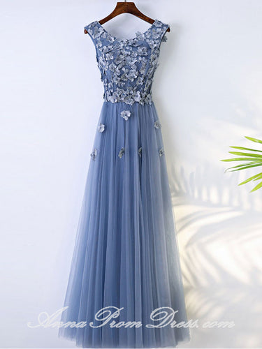 Long Prom Dresses Scoop A Line Appliques Lavender Tulle Chic Prom Dress JKL585