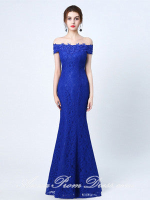 Lace Prom Dresses Off-the-shoulder A Line Floor-length Lace-up Royal Blue Prom Dress JKL586