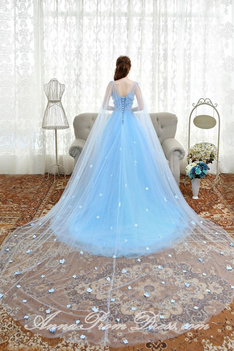 Beautiful Prom Dresses A Line Bateau Sweep Train Light Sky
