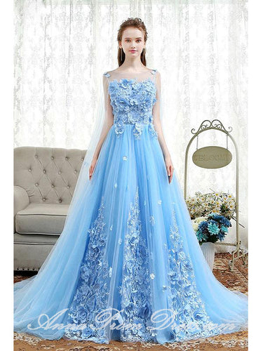 Beautiful Prom Dresses A Line Bateau Sweep Train Light Sky Blue Lace Prom Dress JKL587