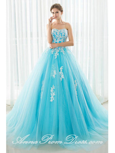 Long Prom Dresses Sweetheart Sweep Train Appliques Beautiful Prom Dress Sexy Evening Dress JKL588