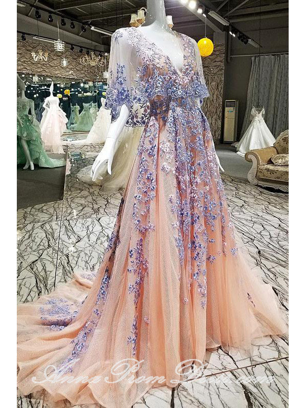 Luxury Prom Dresses V Neck Sweep Train Embroidery Long Prom Dress Sexy Evening Dress JKL590