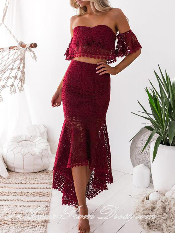 Two Piece Prom Dresses Off The Shoulder Mermaid Burgundy Lace High