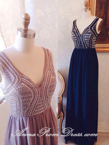 Chic Prom Dresses V Neck A Line Floor-length Beading Long Sexy Prom Dress JKL593