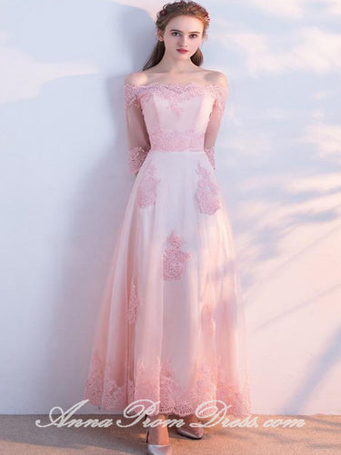 Long Prom Dresses Off-the-shoulder Aline Floor-length Tulle Pink Prom Dress JKL595