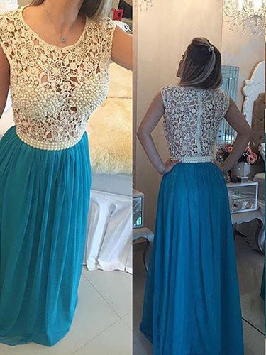 Long Prom Dresses Scoop A Line Floor Length Chiffon Lace Beading Sexy Prom Dress JKL597