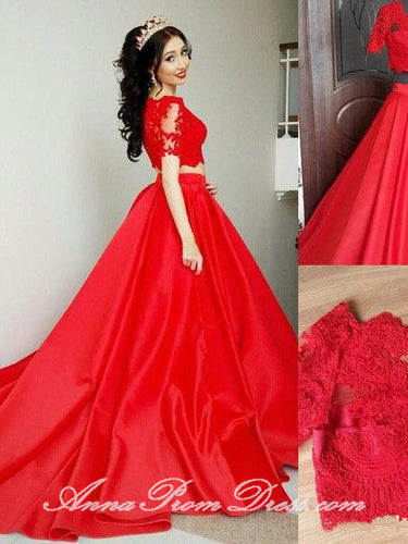 Two Piece Prom Dresses V Neck Sweep Train Lace Red Prom Dress Sexy Evening Dress JKL598