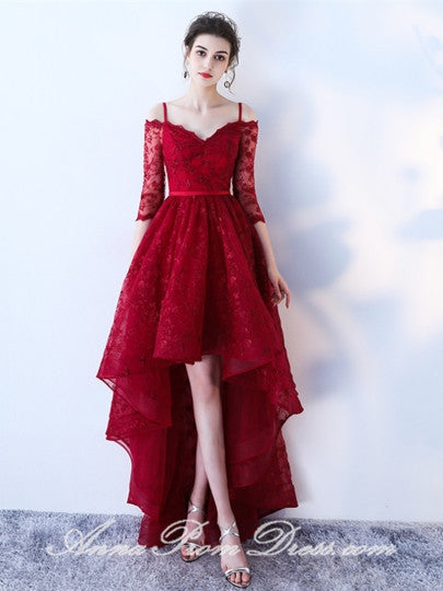 High Low Prom Dresses A Line Spaghetti Straps Burgundy Lace Chic Prom Dress JKL599