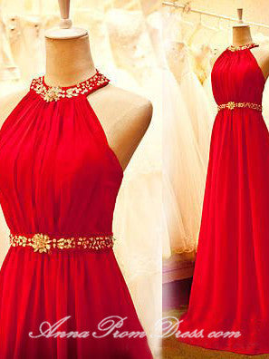 Chic Prom Dresses Halter A Line Brush Train Rhinestone Long Sexy Prom Dress JKL601