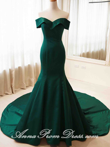Green Prom Dresses Trumpet Mermaid Sweep Train Off-the-shoulder Long Prom Dress JKL602