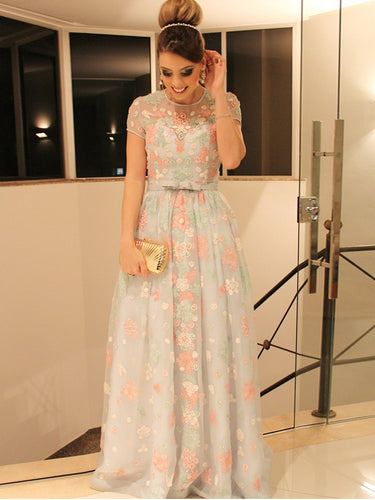 Lace Prom Dresses Scoop A Line Floor Length Floral Tulle Beautiful Prom Dress JKL605
