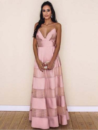 Sexy Prom Dresses A Line Spaghetti Straps Floor-length Lace Pink Chic Prom Dress JKL607