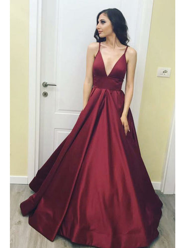 Cheap Prom Dresses A Line Floor-length Spaghetti Straps Burgundy Long Prom Dress JKL610
