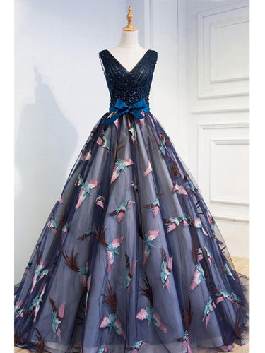 Beautiful Prom Dresses Ball Gown V Neck Lace Beading Bowknot Tulle Prom Dress JKL611