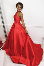 Cheap Prom Dresses A Line Brush Train Halter Red Long Sexy Prom Dress JKL612|Annapromdress