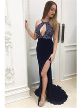 Halter Prom Dresses Sheath Column Sweep Train Rhinestone Dark Navy Sexy Prom Dress JKL614