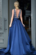 Sexy Prom Dresses A-line V-neck Rhinestone Dark Navy Sexy Long Prom Dress JKL615