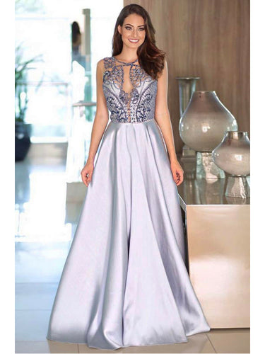 Sexy Prom Dresses Scoop A Line Floor-length Rhinestone Prom Dress Long Evening Dress JKL616