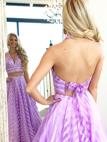 Two Piece Prom Dresses Halter Aline Floor Length Open Back Beautiful Prom Dress JKL617